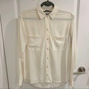 Abercrombie & Fitch cream silk shirt